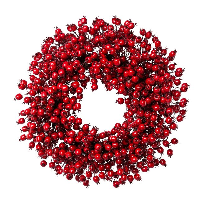 Rosehip wreath, 55 cm, red