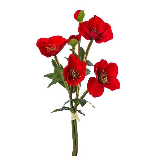 Velvet christmas rose bunch x 6, 40,cm, red, set of 2 pcs
