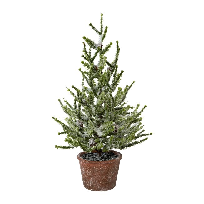 Spruce With Snow In Pot, 55,cm, Snow