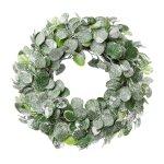 Eucalypthus Wreath Iced, 43,cm, Frost