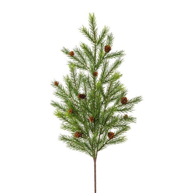 Fir branch with cone,65 cm,green