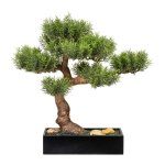 Bonsai Cedar x12, ca. 45 cm,Plastic, Green, In Wooden Box