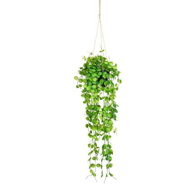 Leaf Bush, ca. 70 cm Green,Plastic, In Hanging Pot 11x9,5