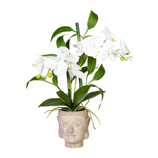 Orchid-bamboo arrangement x2,ca 60cm, white real touch, in
