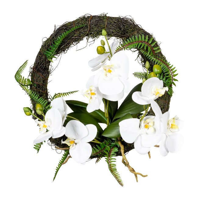 Orchid wall wreath with roots, 30cm, white