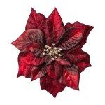 Poinsettia Flower With Clip,Velvet, 17 cm, Bordeaux, set of 2 pcs