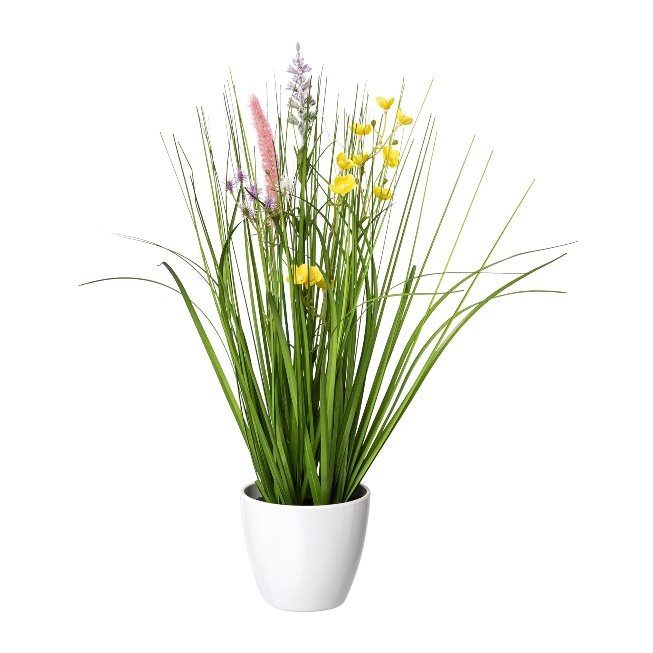Flower-Grass Mixture In A,White Pot, 41 cm, Colourful