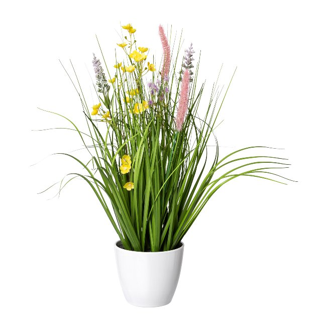 Flower-Grass Mixture In A,White Pot, 46 cm, Colourful