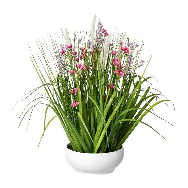 Flower-Grass Mix In White,Bowl, 46 cm, Pink