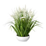 Flower-Grass Mix In White,Bowl, 46 cm, White