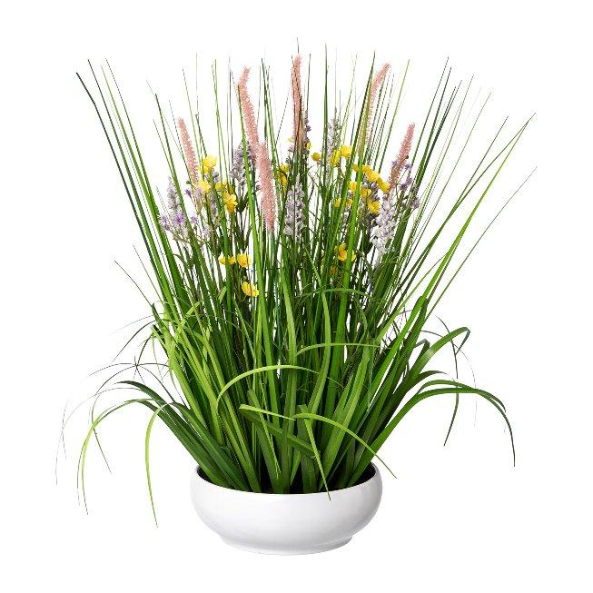 Flower-Grass Mix In White,Bowl, 53 cm, Multicoloured