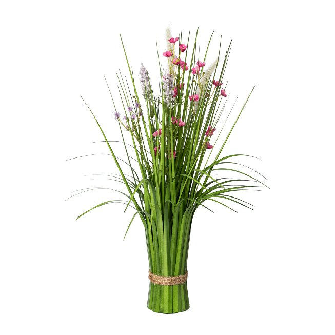 Standing Grass Bush With,Flowers, 48 cm, Pink