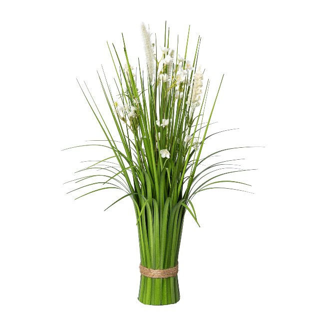 Standing Grass Bush With,Flowers, 48 cm, White