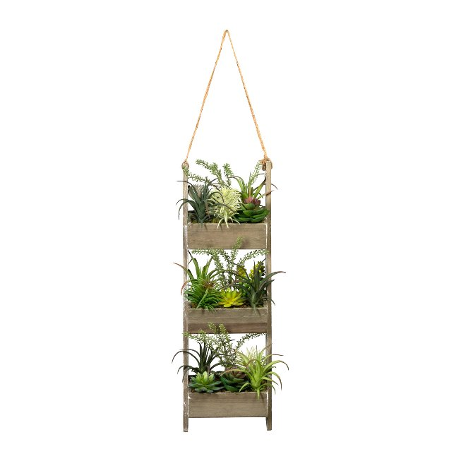 Wooden Deco Ladder With,Succulents x3, ca. 60x20x12