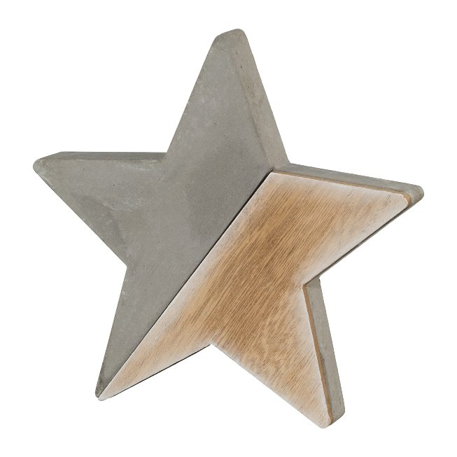 Wood Cement Combination Star,15x15x2,5 cm, Natural