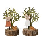 Wooden figures set of 2, fox and bear, 6,5x6,5x14cm, autumn coloured