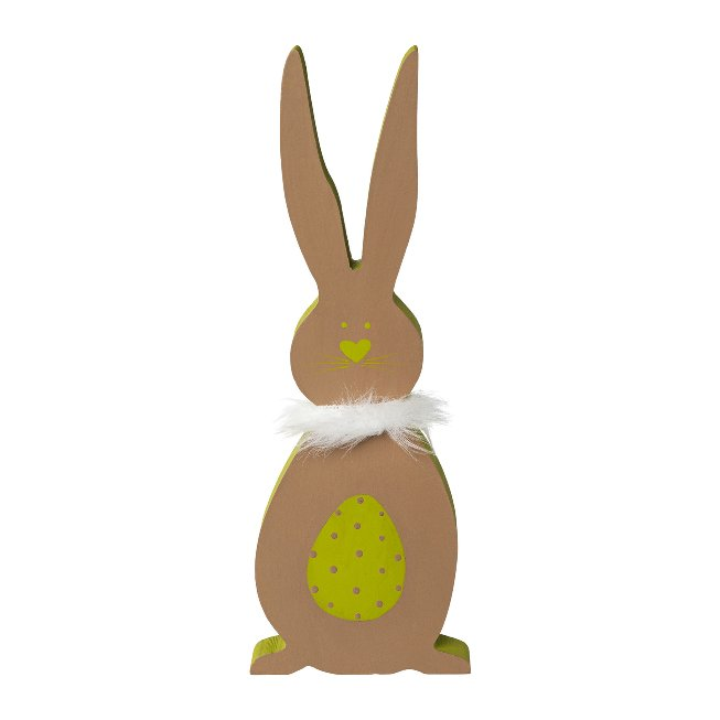 Wooden Rabbit On Foot 3Fa.So.,Lovely, 10x1,7x28 cm, Green, set of 3 pcs
