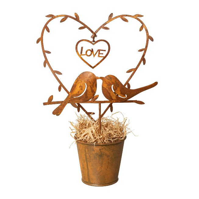 Metal Bird And Heart In A Pot,11x5,5x20 cm, Stainless