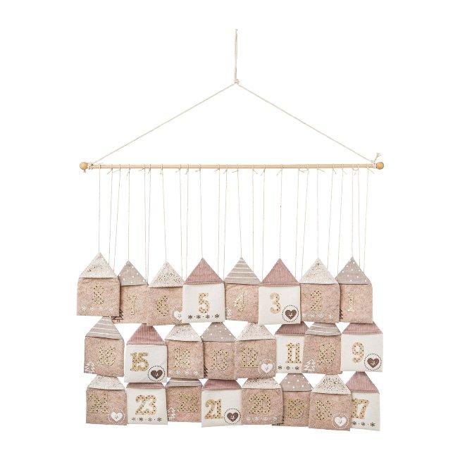 Bags Advent Calendar hanging fabric, 70x60cm, beige