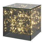 Glass Cuboid With 20 Led,Lights, 15x15x15 cm, Grey