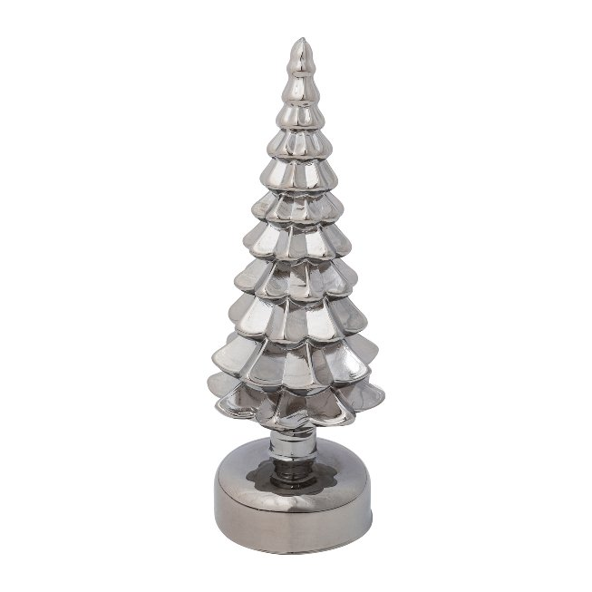 Glass Fir Tree With Led, 8x22,cm, Grey