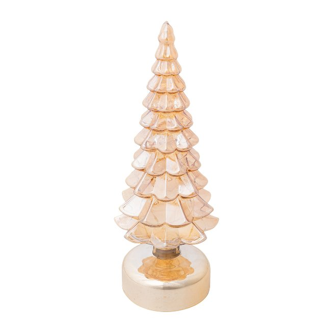 Glass Fir Tree With Led,9,5x27 cm, Gold