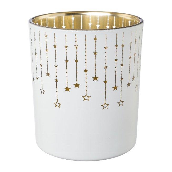 Glass tealight FALLING STARS,9x9x10cm,white
