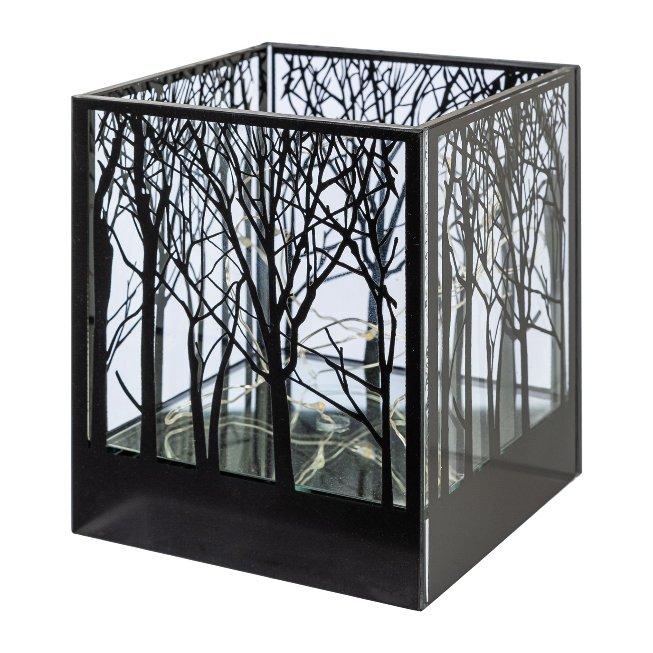 Glas Windlicht quadratisch CUBUS TREE