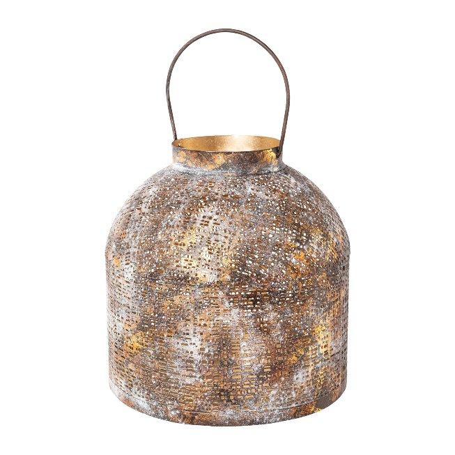 Metal Lantern With Handle,Etienne, 12x12x25 cm, Pink