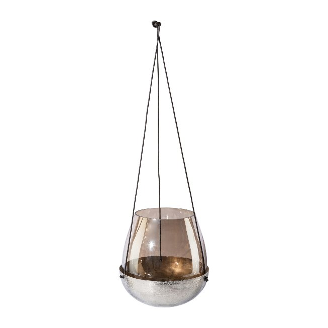 Glass Lantern In Metal Bowl,With Leather Hanger Stale,