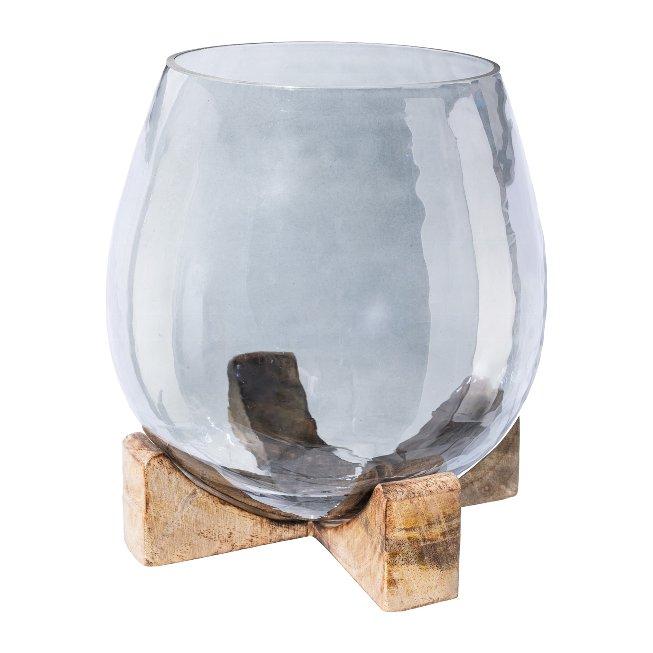 Glass Tea Light On Wooden,Base, 16x14x14 cm, Grey