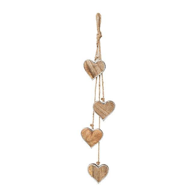 Wooden Heart 4Erbunch Liner, 8,cm/65 cm, Silver