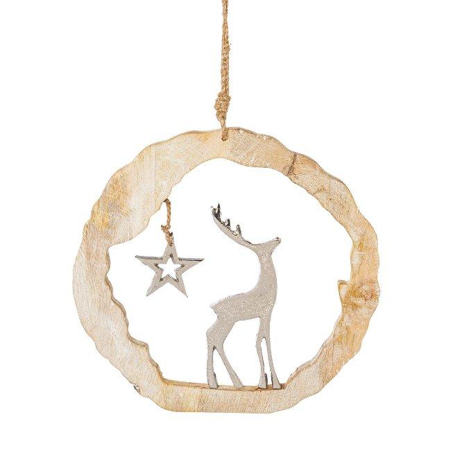 Wooden ring hanger with aluminium, deer, 25x25x5cm, silver