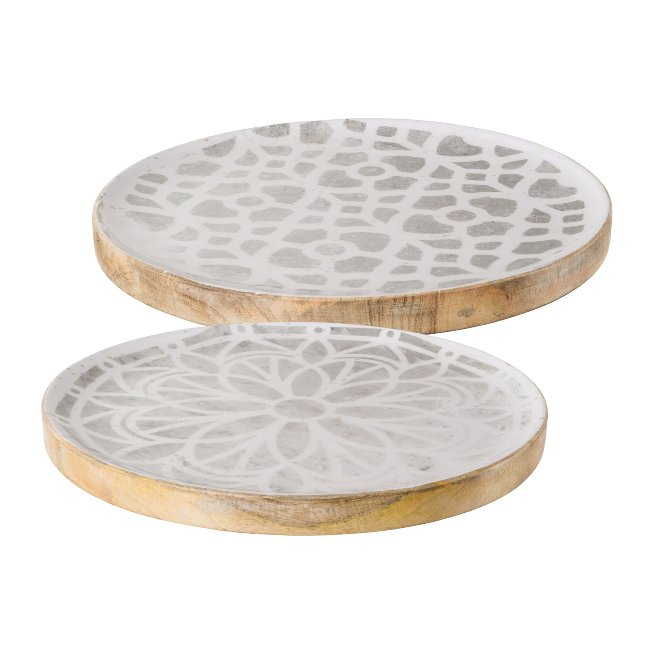 Wooden plate, 25x25x3,5cm, grey, set of 2