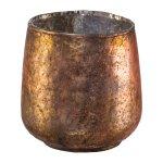 Glass lantern cylinder bulbous, 9x7cm, pink
