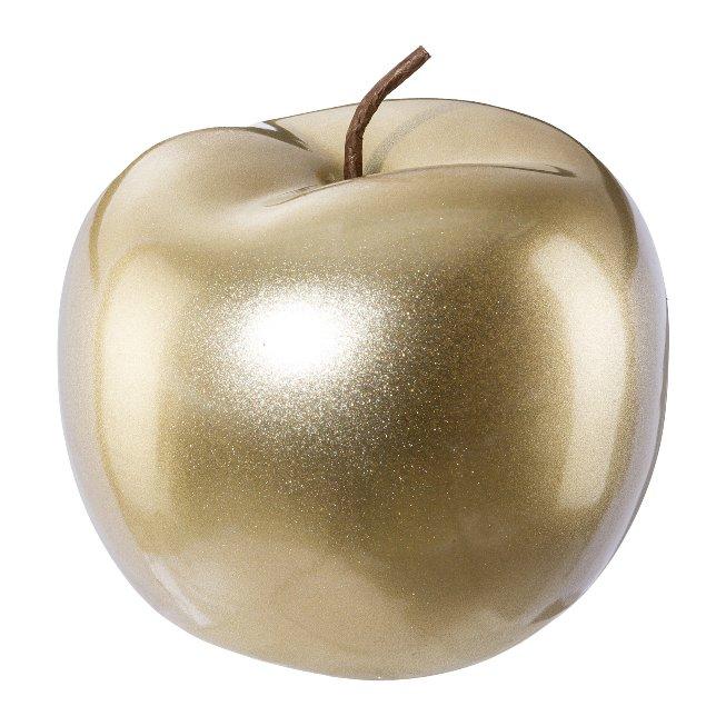 Ceramic Apple Festival,12x12x9,5 cm, Gold, Lepuro