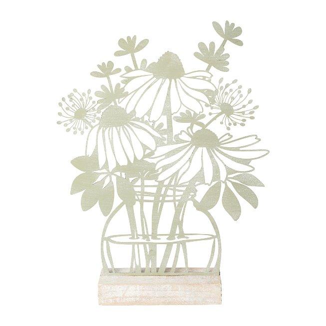 Metall Blumentopf auf Holzbase