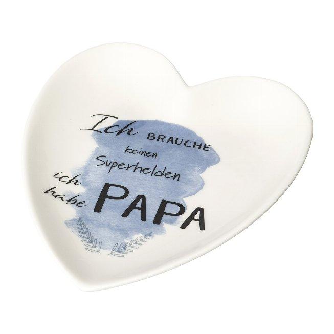 Porcelain Heart Plate 'Papa',15,5x14,5x2,2 cm, White