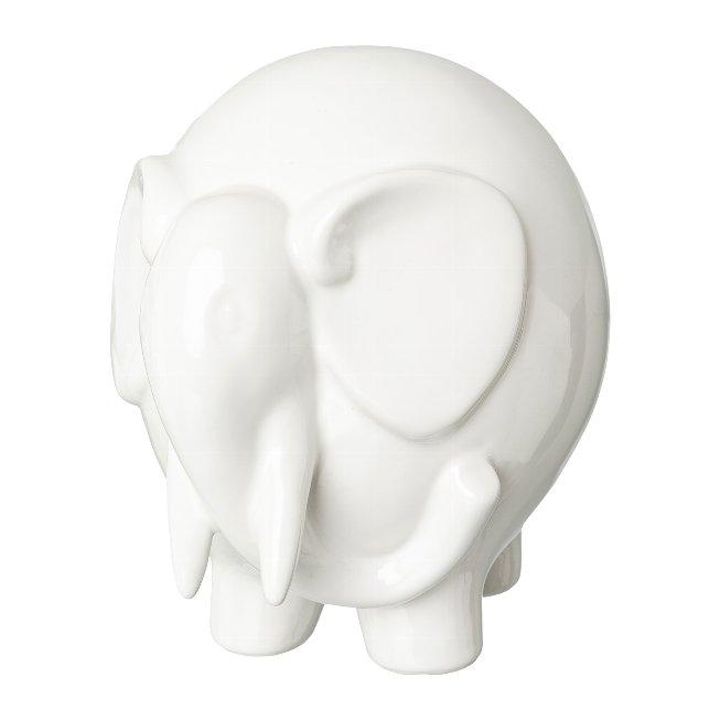 Ceramic Elephant Standing,Elmar, 10,5x8x10 cm, White
