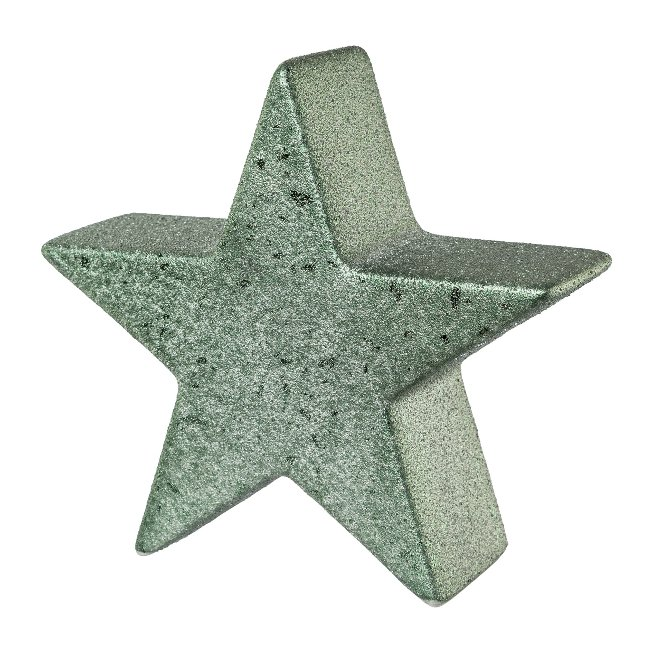 Ceramic star ROUGH GLAMOUR,FINISH, 13x4x13cm, light green