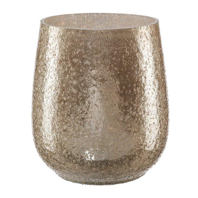 Glass lantern bulbous, 12x11cm, brown