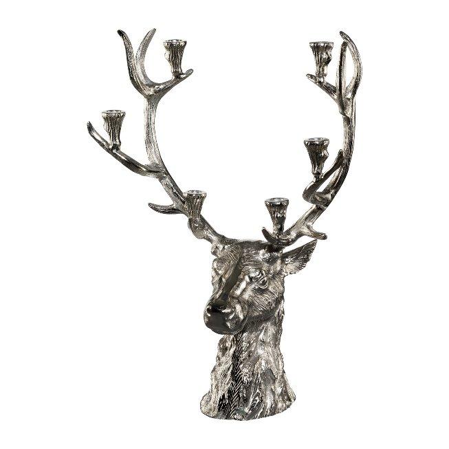 Aluminium Stag Head Standing,Candle Holder, 66x48x26 cm,