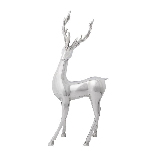 Aluminium Stag Standing Style,74x31x18 cm, Silver
