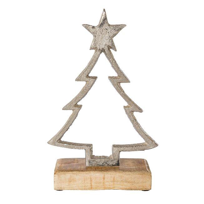 Aluminium Tree On Wooden Base,22x15x5 cm, Silver