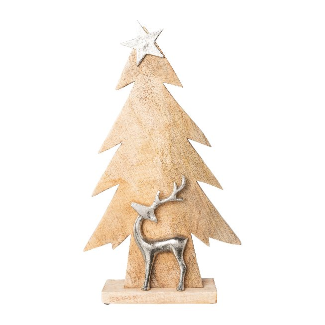 Wood Christmas Tree With Star,And Reindeer, 50x29x7 cm,