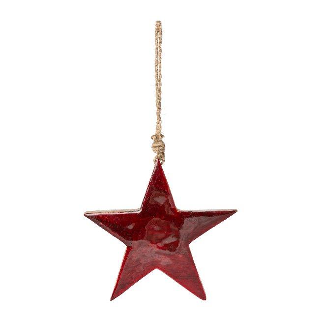 Wood Star Pendant With Enamel,15x15x2 cm, Red, set of 2 pcs