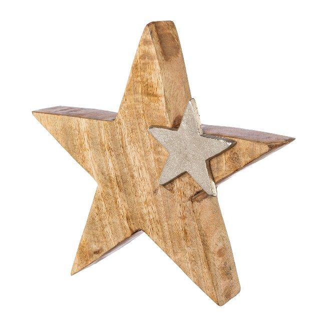 Wooden star with aluminium star,TWINS, 20x20x4cm, silver
