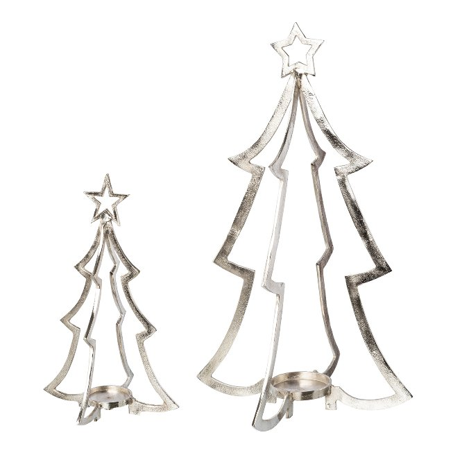 Aluminium Tree Candle Holder,set of 2, 18x18x40/28x28x74