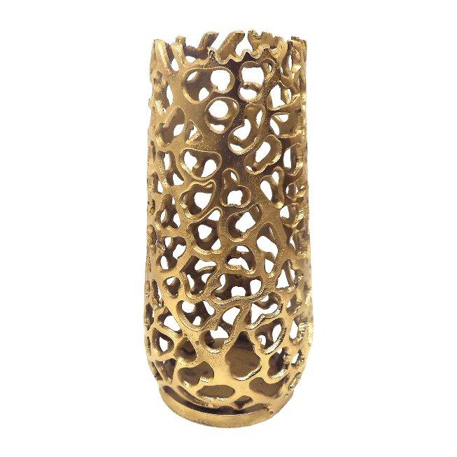 Aluminium Vase Noun, 13x13x25,cm, Gold