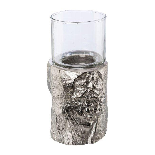 Aluminium lantern base with glass, NATURALMENT, 9x9x18cm, silver